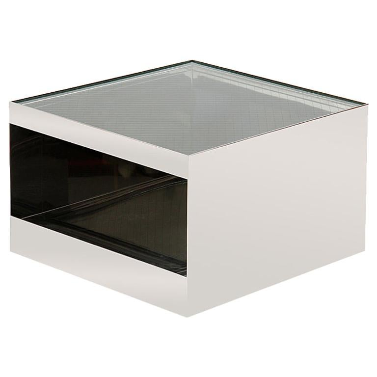 1970s Steel Cube-Form End or Low Table by Joe d'Urso for Knoll For Sale