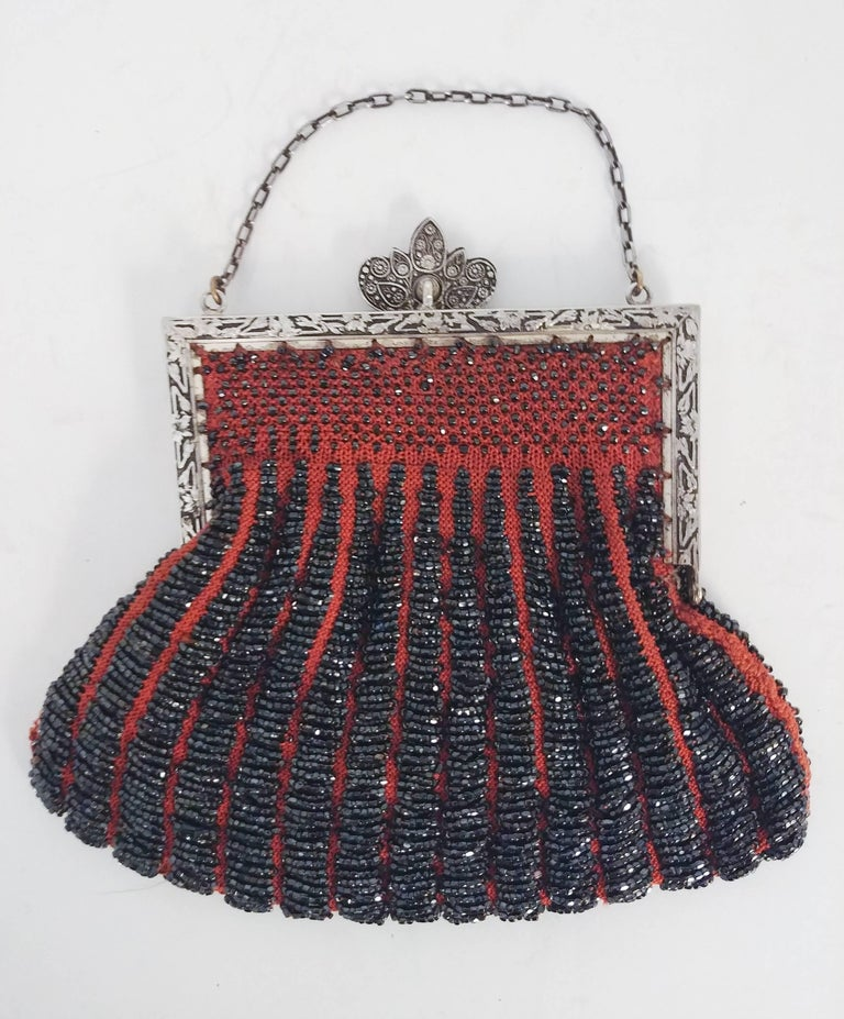 Black Steel Cut Red Crochet Purse with Filigree Detail, 1920s For Sale