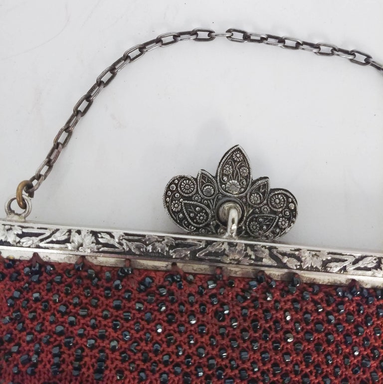 Steel Cut Red Crochet Purse with Filigree Detail, 1920s In Good Condition For Sale In San Francisco, CA