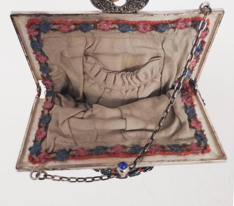 Women's Steel Cut Red Crochet Purse with Filigree Detail, 1920s For Sale