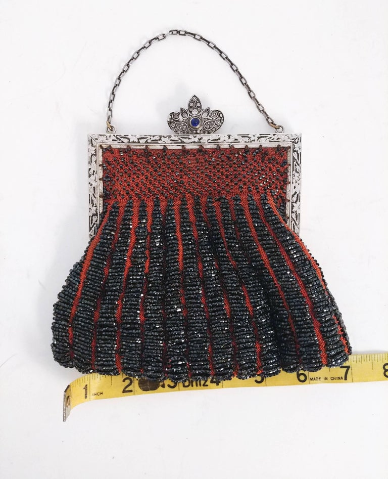 Steel Cut Red Crochet Purse with Filigree Detail, 1920s For Sale 1