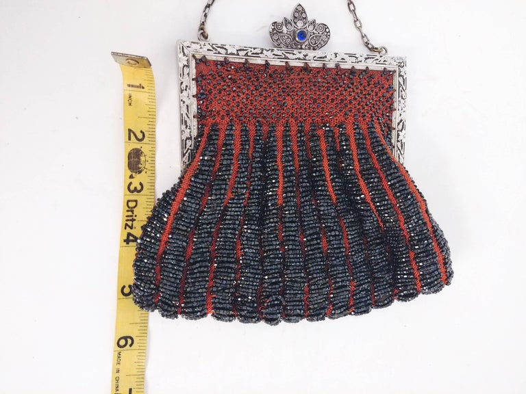 Steel Cut Red Crochet Purse with Filigree Detail, 1920s For Sale 2