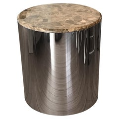 Steel Cylinder Table with Marble Top by Brueton