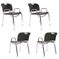 Steel & dark brown  Castiglietta chairs By A. Castiglioni for Zanotta, set of 4