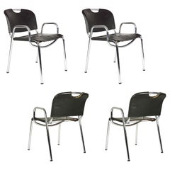 Steel and Dark Brown Castiglietta Chairs by A. Castiglioni for Zanotta, Set of 4