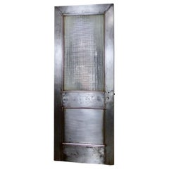 Steel Door with Original Ribbed/Reeded Glass Panel, circa 1910