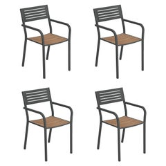 Steel EMU Segno Armchair with Teak Seat, Set of 4 Items