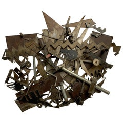 Steel Found Objects Brutal Wall Sculpture by Bruce Gray