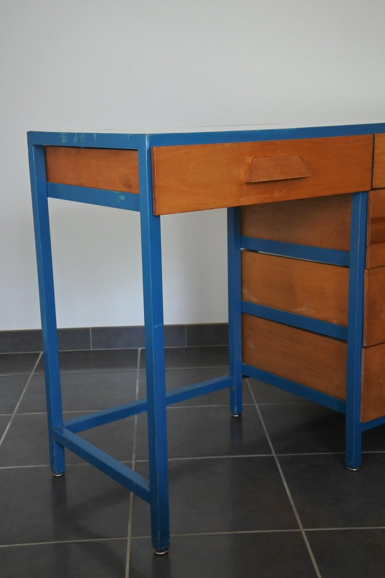 Steel Frame and Maple Vanity and Dresser Attributed to Vista of California, USA For Sale 8