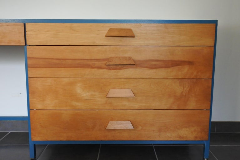 Steel Frame and Maple Vanity and Dresser Attributed to Vista of California, USA In Good Condition For Sale In La Teste De Buch, FR