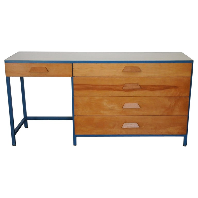 Steel Frame and Maple Vanity and Dresser Attributed to Vista of California, USA For Sale