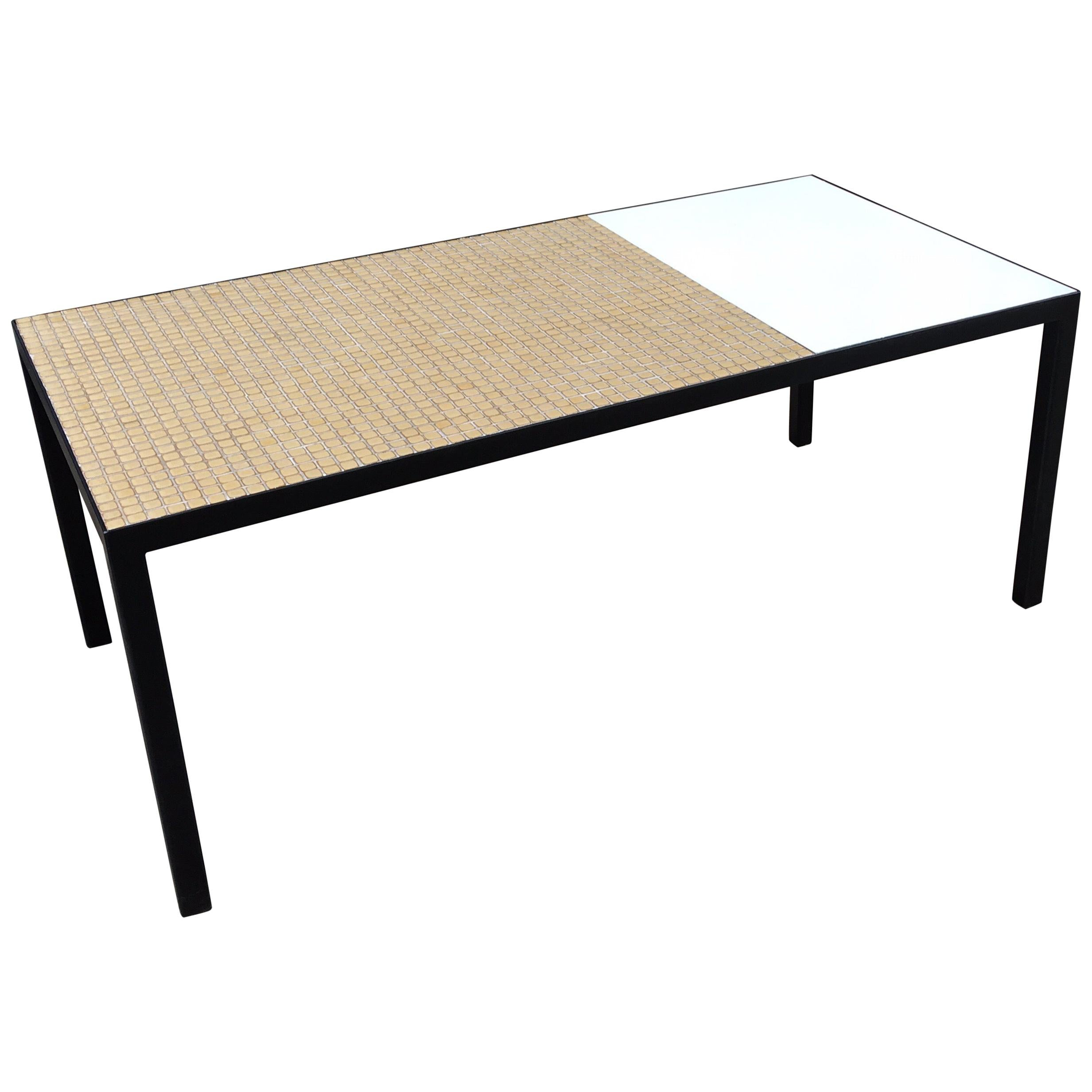 Steel Frame Coffee Table with Tile and Formica Top