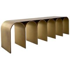 Steel Gold Arch Bench by Pietro Franceschini