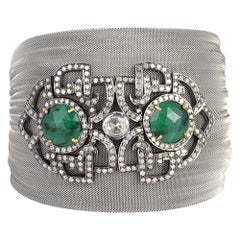 Steel Grey Mesh Bracelet with Diamond and Emerald Motif in Center