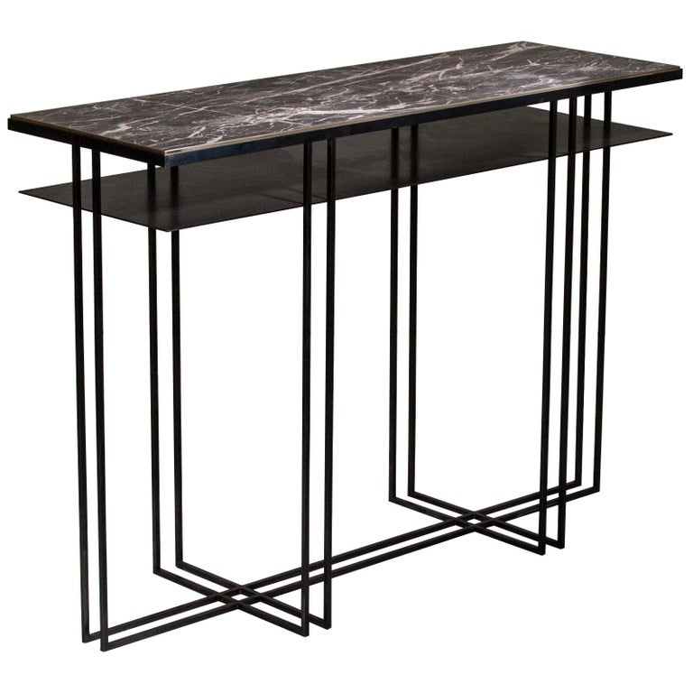 Steel Handcrafted Console Signed by Novocastrian For Sale