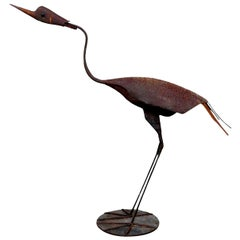 Steel Heron Folk Art Sculpture