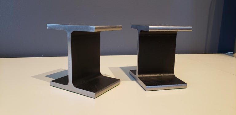 Handsome steel i-beam or railroad tie bookends, circa 1970s. Very heavy, substantial and functional. Excellent condition with very minor wear they show beautifully.   These are available to view in our Chelsea, NYC showroom.     In the style