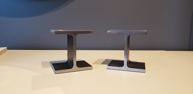 Steel I-Beam or Railroad Tie Bookends, circa 1970 In Excellent Condition For Sale In New York, NY