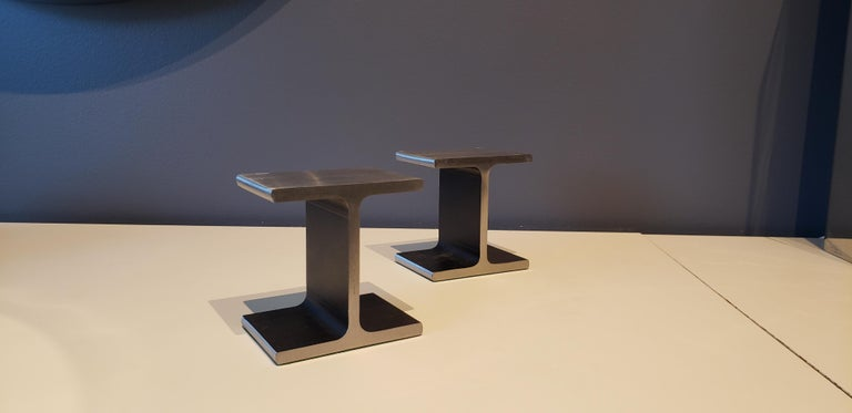 Late 20th Century Steel I-Beam or Railroad Tie Bookends, circa 1970 For Sale