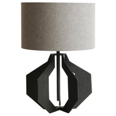 "Steel Lamp Covered in ""Wood Grain"" Embossed Black Lamp Leather with Cotton Shade"