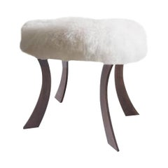 Steel Legged Sheepskin Ottoman-Customizable