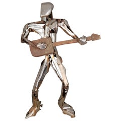 Steel Life Size Sculpture of Rock Star Guitar Player