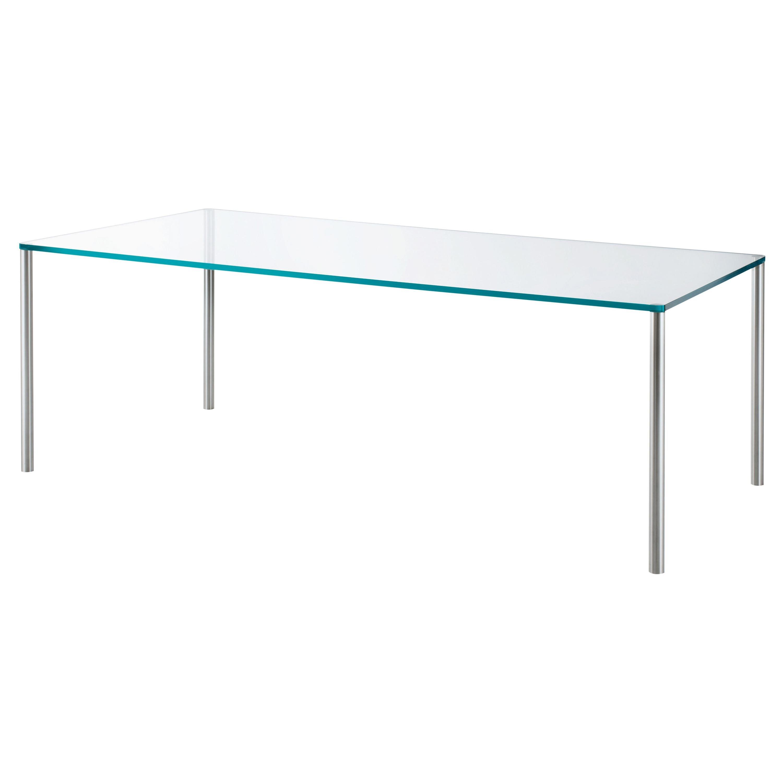Steel Medium Transparent Rectangular High Table, by Piero Lissoni, Glas Italia
