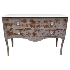 Steel Metal Bombe Commode Marble-Top French Dresser Purple Painted Industrial