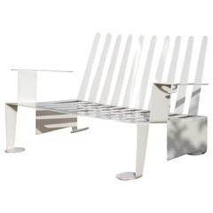 Steel Metal Modern Design White Bench, 1990s
