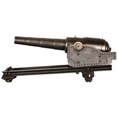 Steel Model of a 64 Pound Canon on Elevating Carriage, circa 1860