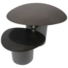 Steel Pebble Double Nesting Tables Set in a Hand Blackened Steel Finish