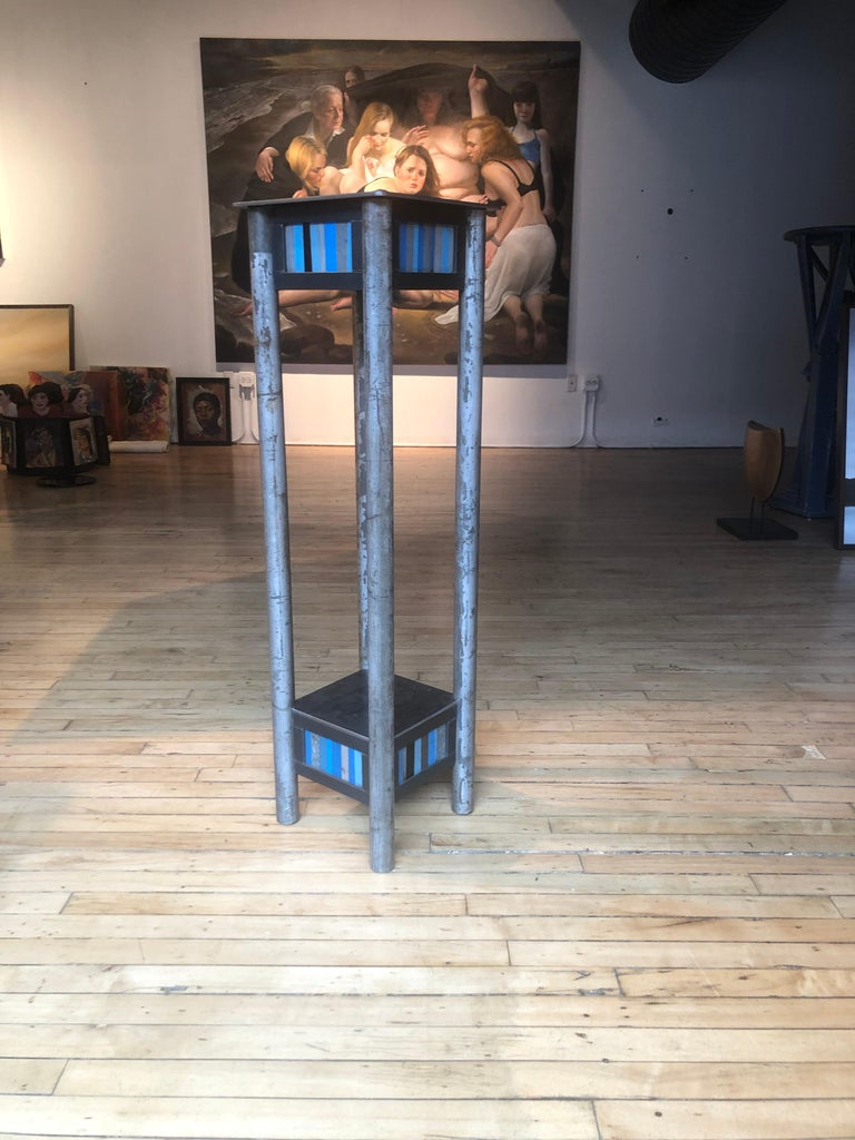 Mid-Century Modern Jim Rose Welded Steel and Found Painted Steel Pedestal Square Top with Shelf