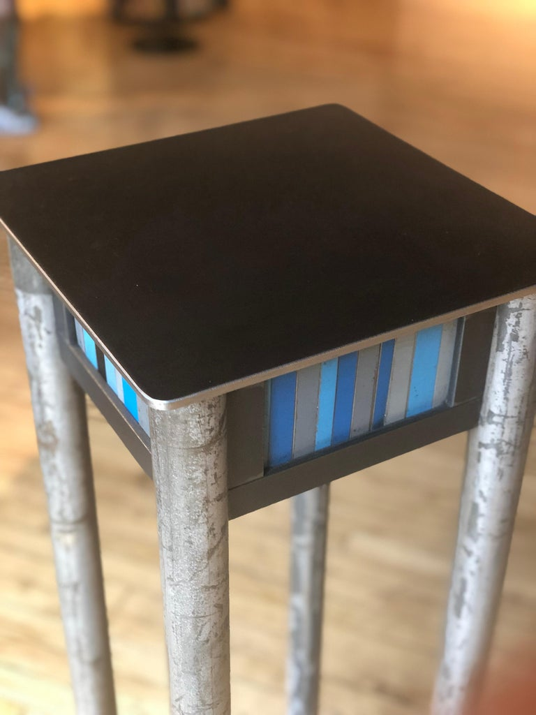 Jim Rose Welded Steel and Found Painted Steel Pedestal Square Top with Shelf In New Condition In Chicago, IL