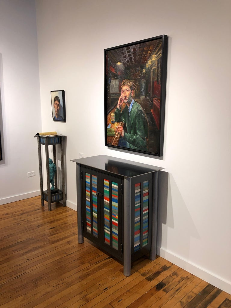 Jim Rose Welded Steel and Found Painted Steel Pedestal Square Top with Shelf 1