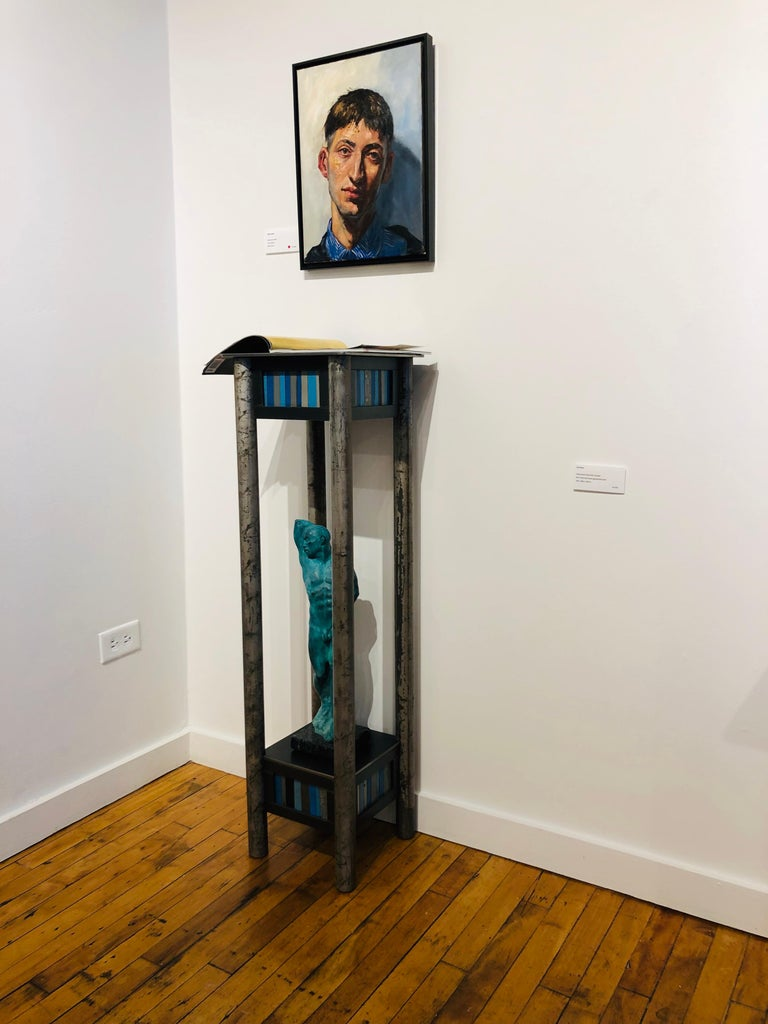Jim Rose Welded Steel and Found Painted Steel Pedestal Square Top with Shelf 2