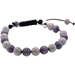 Steel Purple and White Crystal Cord Bolo Bracelet
