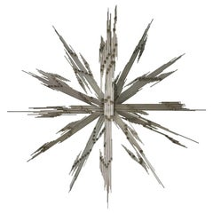 Steel Rod and Brass Lightning Starburst Wall Sculpture, 1970s