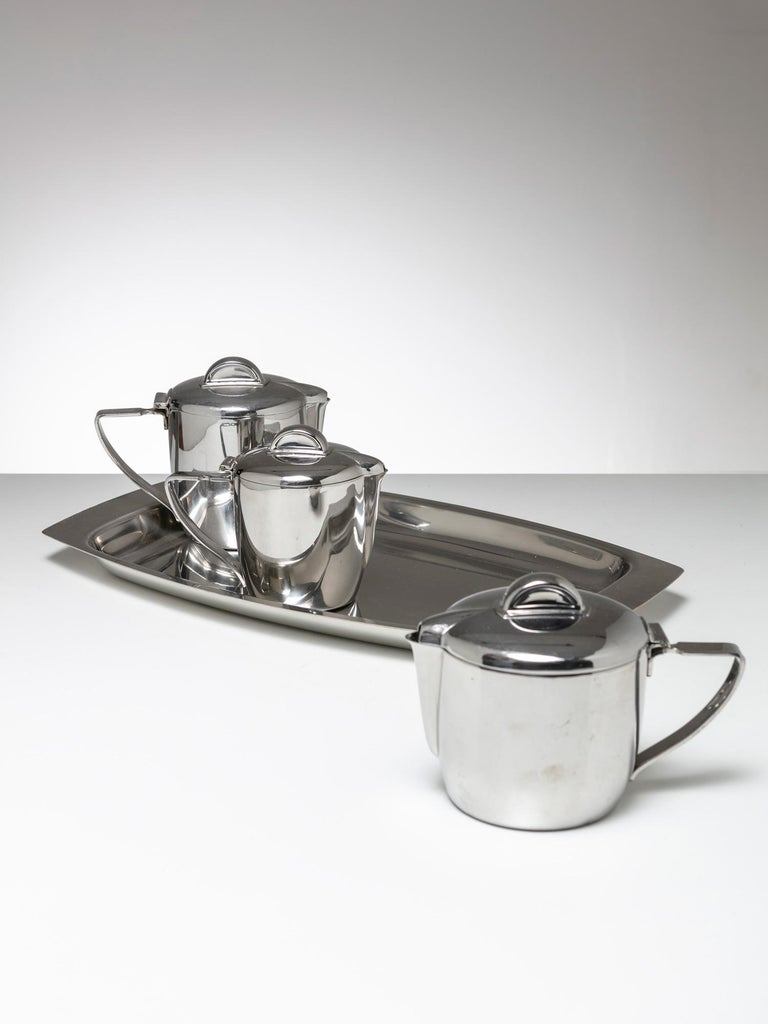 Set composed by tray and three pitchers by Gio Ponti for Calderoni, Milano