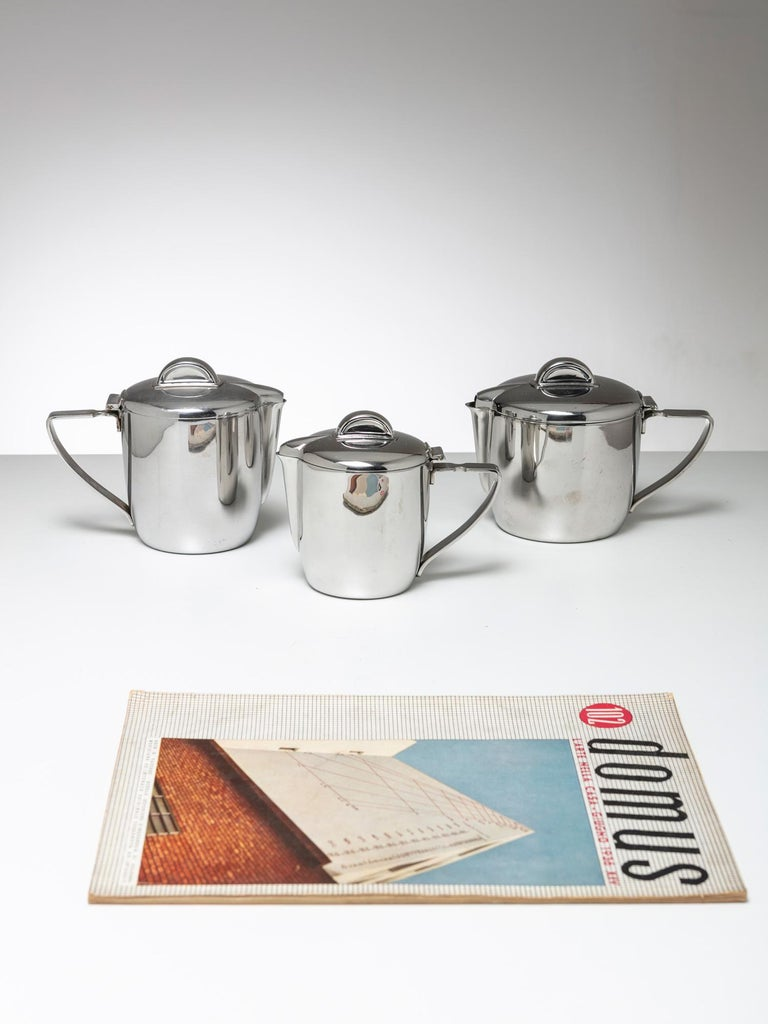 Italian Steel Set by Gio Ponti for Calderoni For Sale