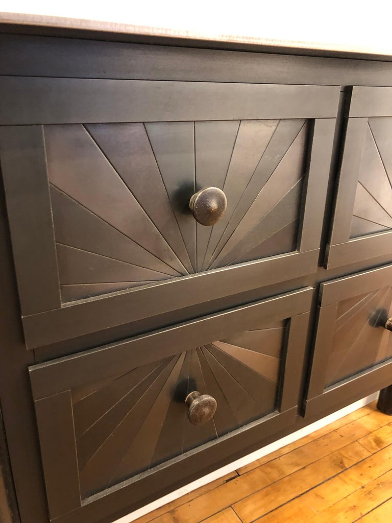 Welded Steel Six-Drawer Starburst Counter, Functional Art, Monochromatic Quilt Design For Sale