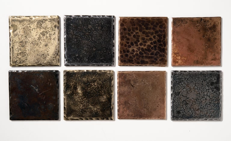 American Steel Square Coaster with Blackened Hammered and Forged Surface For Sale