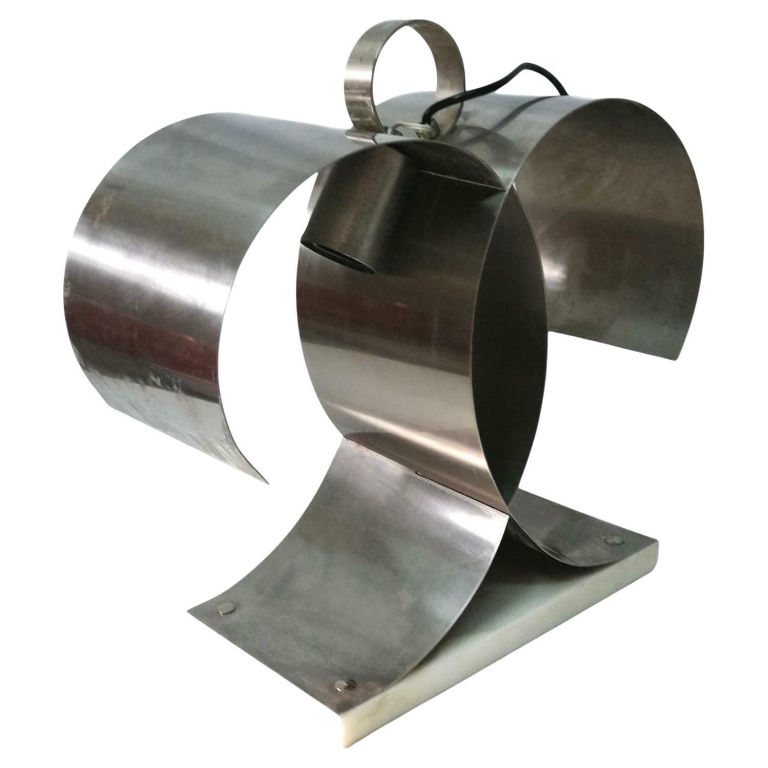 Steel Table Lamp Design Francois Monnet, 1970s