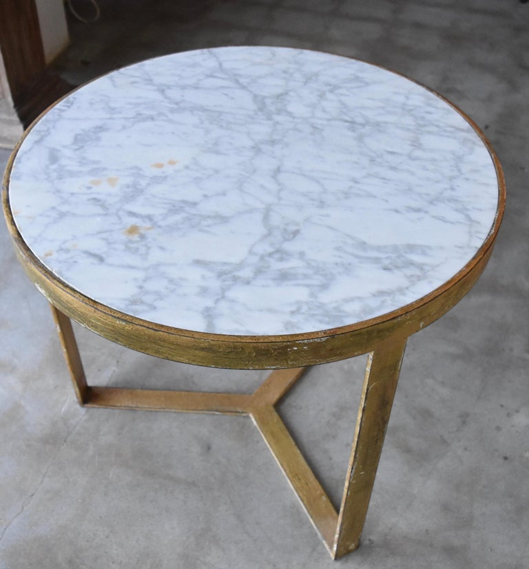 Spanish Steel Table with Gold Gilt and Marble Top for Antica Collection For Sale