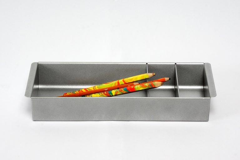 Mid-Century Modern Steel Tanker Drawer Insert/ Organizer, Refinished in Silver For Sale