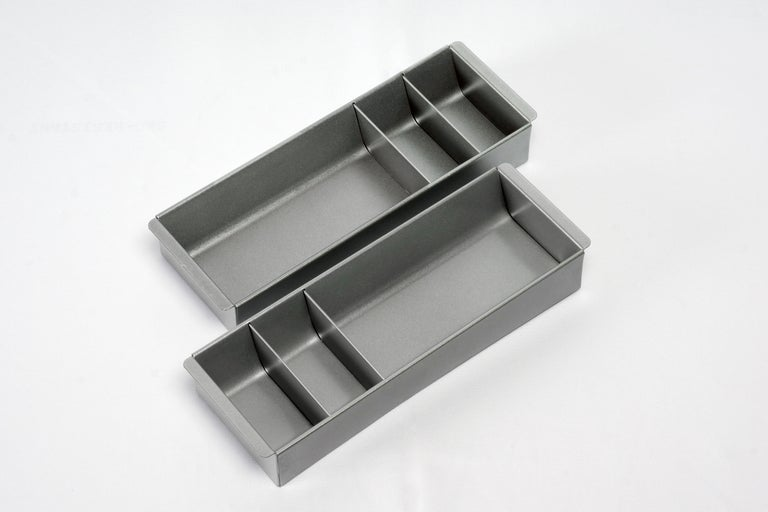 American Steel Tanker Drawer Insert/ Organizer, Refinished in Silver For Sale
