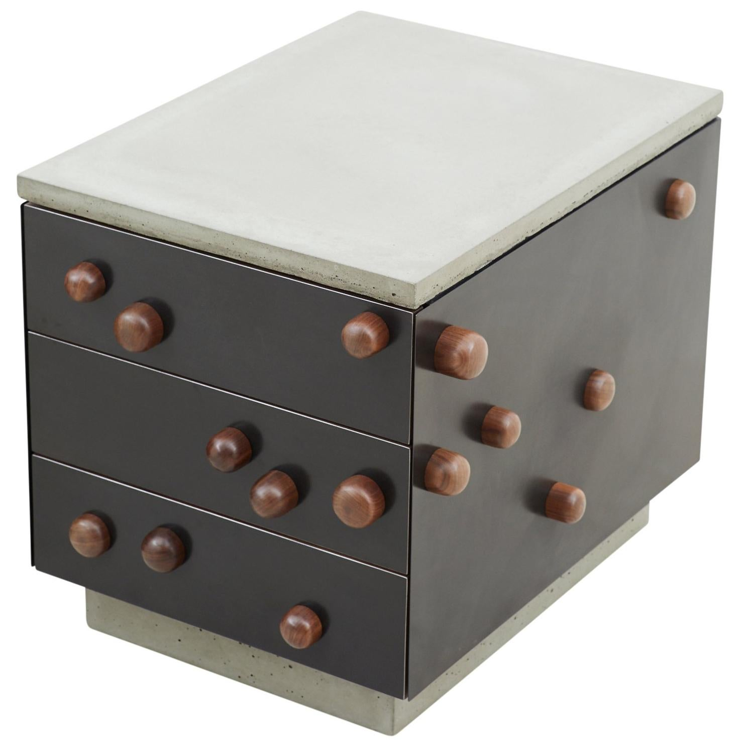 """Steel Veneer, Cast Conrete """"Protrusions End Table"""" with Drawers"""