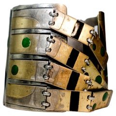 Steel Vintage Bangle with Vermeil Gold and Black and Green Enamel