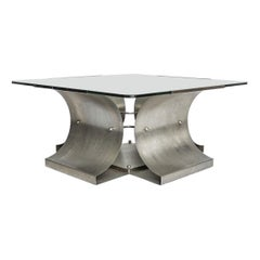 Steel Vintage Coffee Table, Francois Monnet, 1970s
