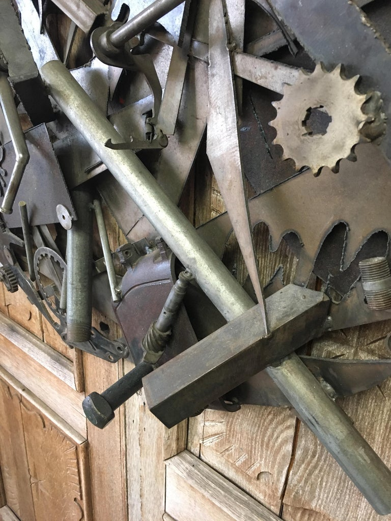 Steel with Found Objects Brutal Wall Sculpture by Bruce Gray For Sale 4
