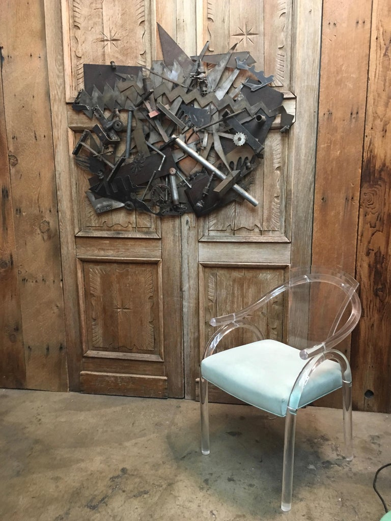Steel with Found Objects Brutal Wall Sculpture by Bruce Gray For Sale 6